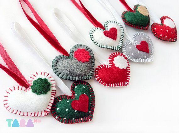 Décorations d'arbre de Noël, se sentait cœurs ensemble de 8, faveurs parti décoration, ornements de Noël, arbre de Noël, cadeau de Noël