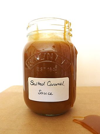 Homemade salted caramel sauce, perfect for pouring, drizzling and spreading.