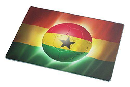 Rikki Knight Brazil World Cup 2014 Ghana Team Football Soccer Flag Large Glass Cutting Board Workspace Saver, 15.3 x 11.3-Inch