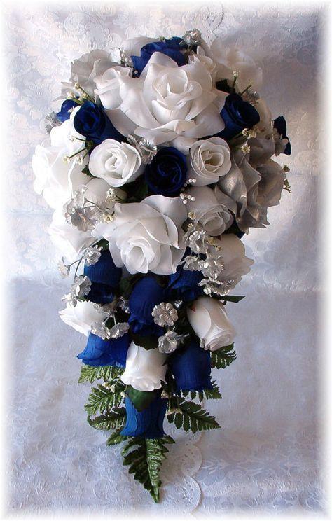ROYAL BLUE Horizon Wedding Bouquet Cascade 21pc WHITE Silver Silk Flowers Corsage Boutonniere Bridesmaid Bouquets Roses