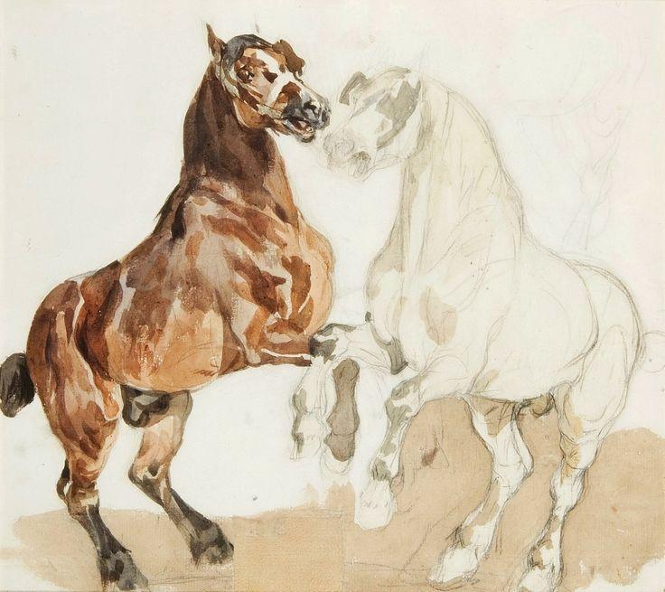 Two horses by Piotr Michałowski, first half of the 19th century (PD-art/old), Muzeum Sztuki w Łodzi (MSL)