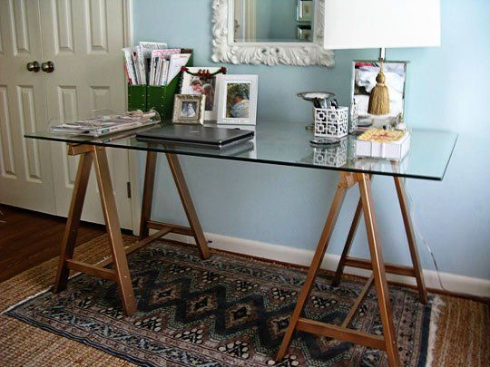 SAW HORSE DESK WILLIAM SONOMA - $1500 KNOCK OFF DESK WITH IKEA LEGS http://www.apartmenttherapy.com/create-a-luxe-sawhorse-desk-wi-155999 LEGS - $30.00