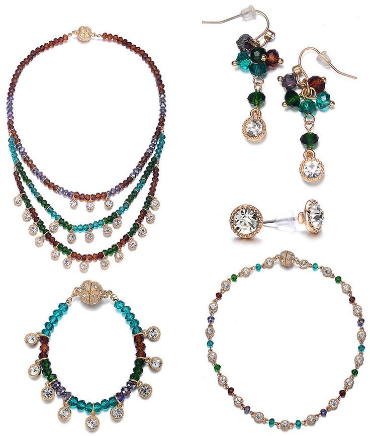 Lyric: 5 Piece Vintage-inspired Green / Dark Topaz Jewelry Set With Magna Clasp