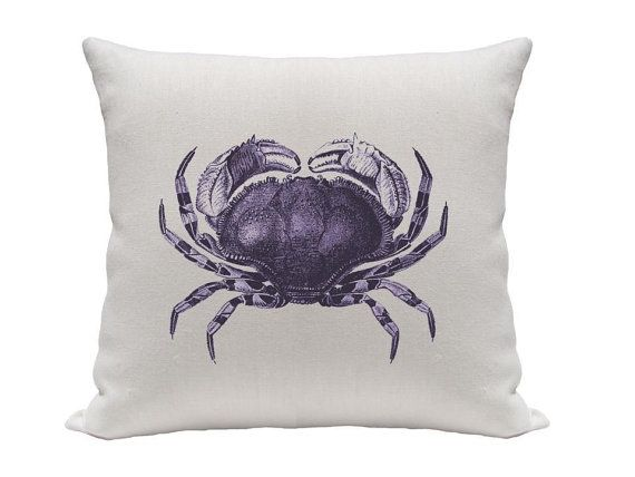 Crab Pillow cover. Etsy $16: Crabby Pillow, Crab Pillow, Linen Purple, Cover Linen, Pillow Covers