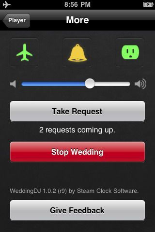Wedding DJ App - let's you choose the songs, craft the playlists, pauses, has fading transitions and lets you take requests while being played. Hmm let's see, $2.00 app that does exactly what you want, or waste a thousand bucks on a weirdo who plays crappy music and hits on the bridesmaids? Duh.
