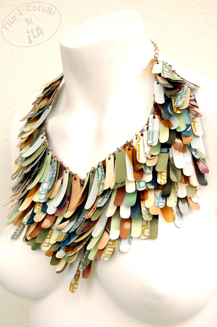 Upcycled necklace PET plastic paper green grey brown sage rust autumn fall multicolor sequins statement. €138.00, via Etsy. made by Ilaria Anselmi, Venice, Italy