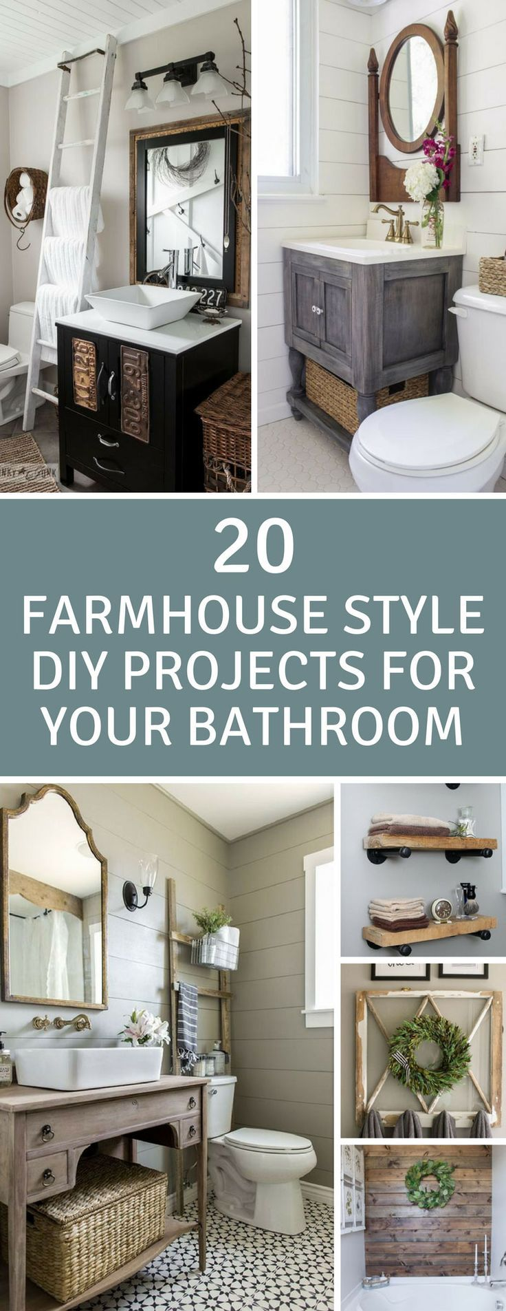 Farmhouse DIY Projects for the Bathroom - Loving these Fixer Upper DIY projects to makeover my bathroom on a budget!