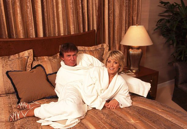 Entrepreneur Donald Trump and second wife Marla Maples are photographed in 1996 at Trump International Hotel Tower in New York City
