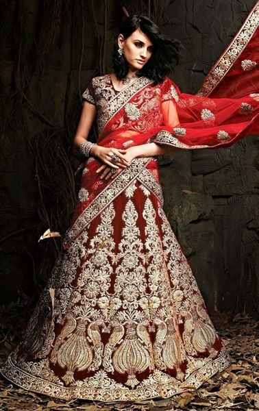 Magnificent Maroon Color Bridal Lehenga Choli. Indian wardrobe.com