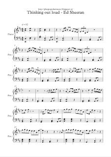play popular music, free piano sheet music, Thinking out loud, ed sheeran