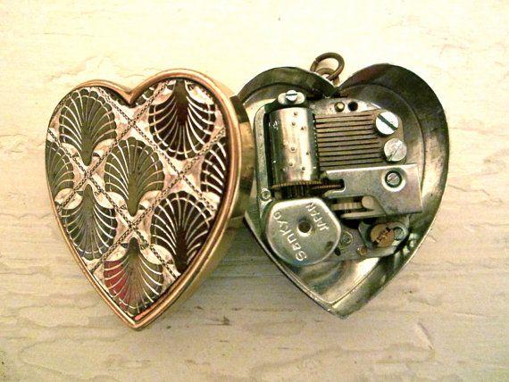 Unique Vintage Music Box Heart Pendant