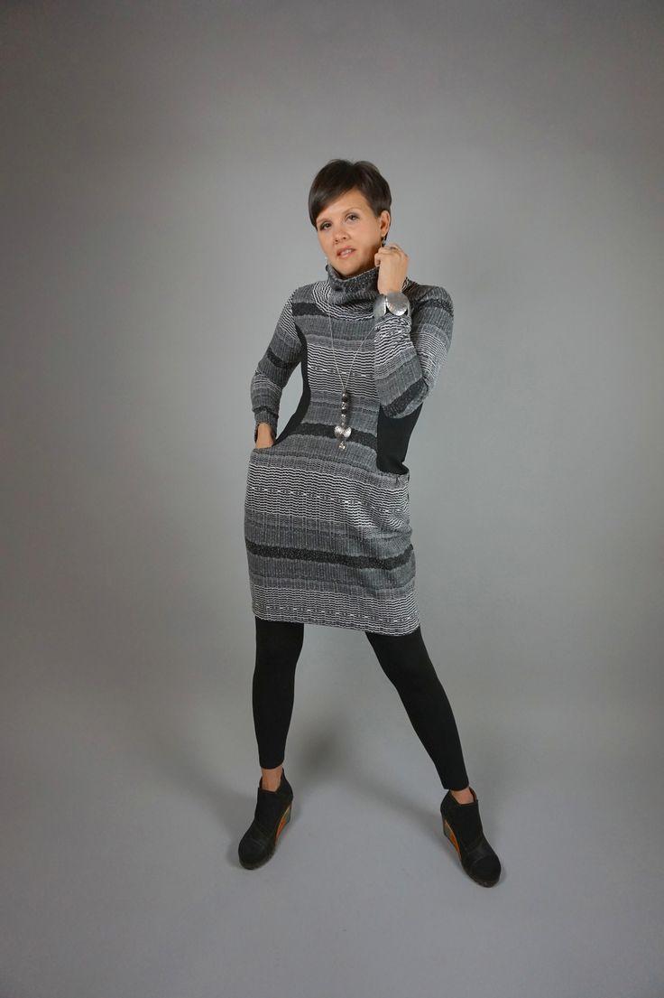 Collar Dress by Lousje & Bean http://www.lousjeandbean.ca/shop/knit-collar-dress-gryblk/ #tunicdress #cozydress #lousjeandbean #slimingdress #artshoes #heartnecklace #canadianmade