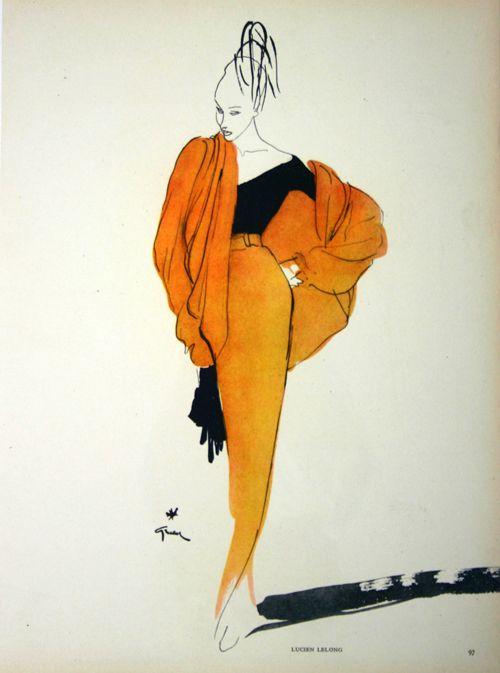 Affiche Mode Lucien Lelong - Paris, France - 1950 - illustration de René Gruau