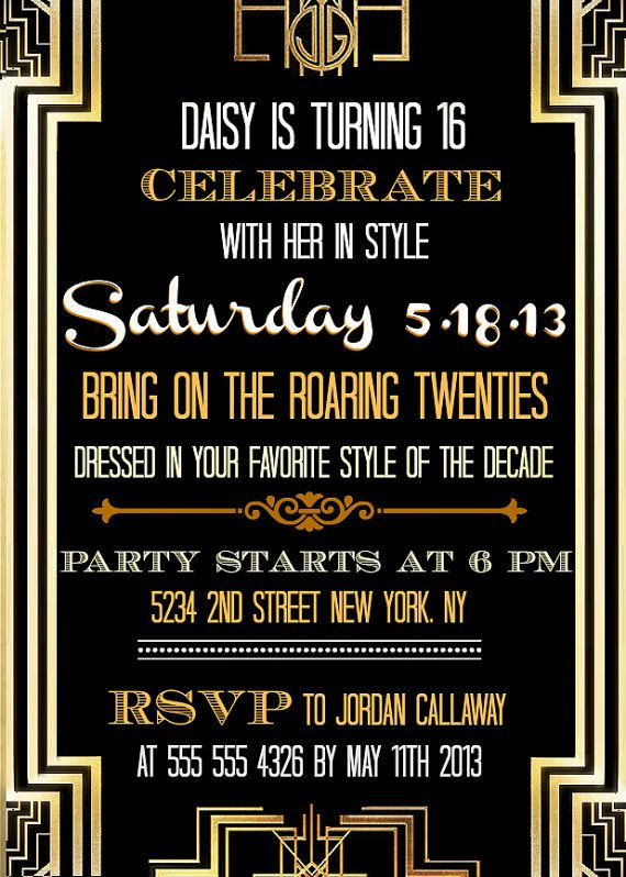 updated great gatsby inspired invitations etsy store pinterest gatsby invitations and sweet 16 - Gatsby Party Invitation