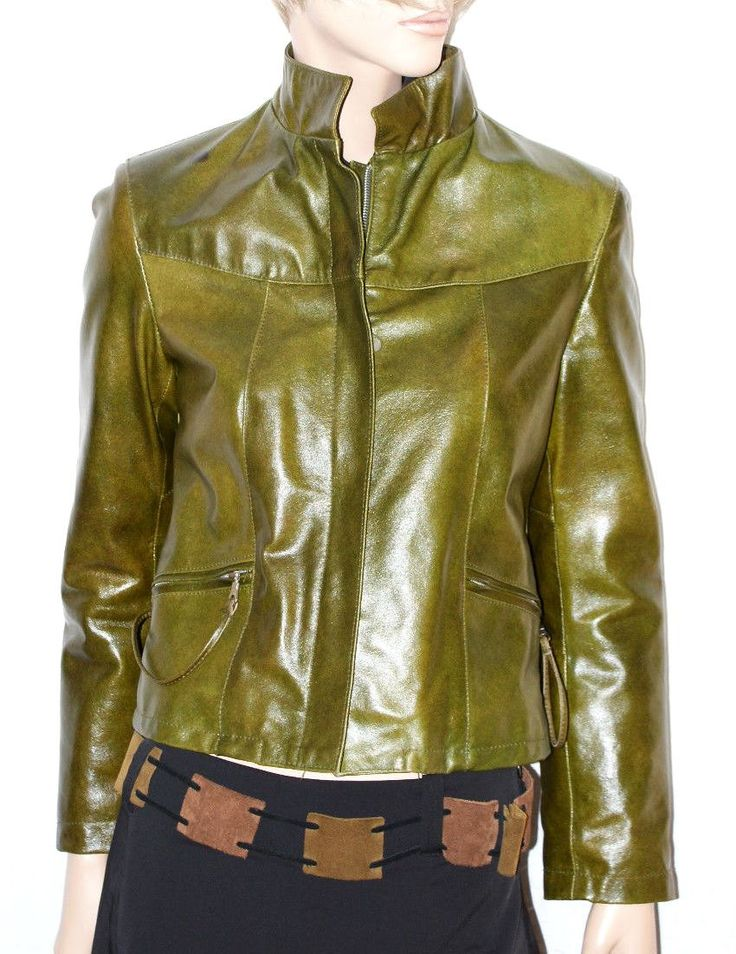 """Amazing Green Emerald Leather Woman Jacket Made in Italy """"XI-OFF Jeans"""" Size S…"""
