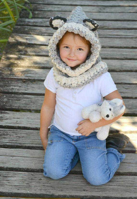 Wolf Cowl Girl Cowl Boy Cowl Crochet Cowl Crochet by Oliviella, $35.00