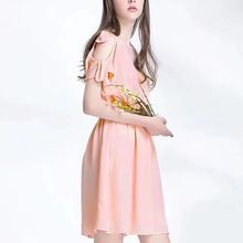 Mohekann Casual Women Summer Dreses 2017 A-line Cute Girl Mini Dress Party Solid O-Neck Short Sleeve With Bow Ladies Vestido //FREE Shipping Worldwide //