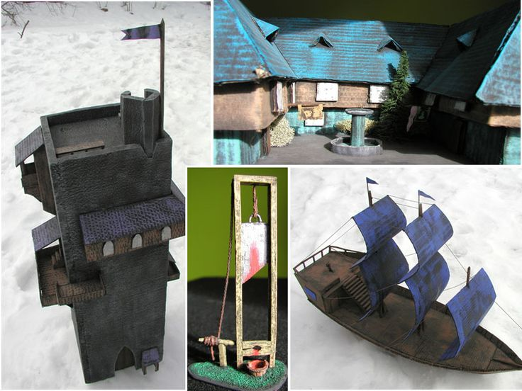 Cardboard buildings for roleplay boardgames and war games made with glue-gun