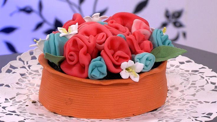 Como Hacer una Matera con Flores de Colores en Fondant- HogarTv por Juan...