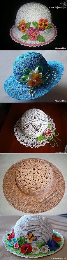 Летние шляпки связанные крючком с цветами - много схем,идей и мк