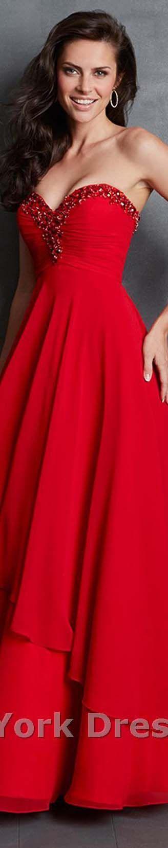 Allure Evening design strapless elegant large red dress. V