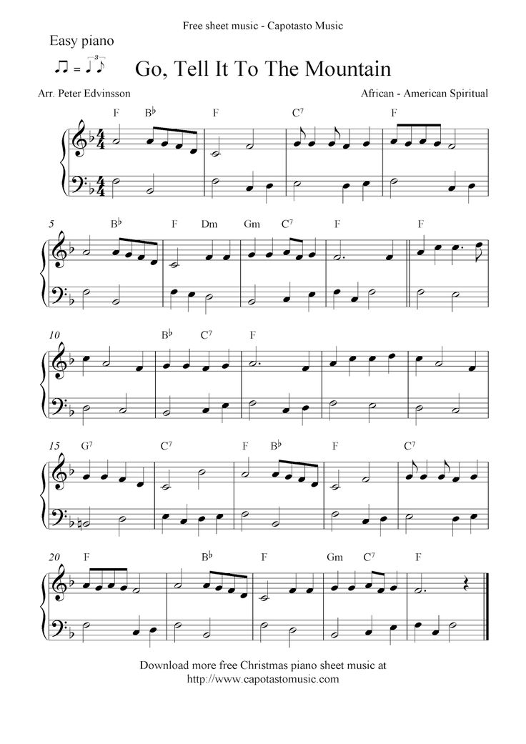 Easy arrangement by Peter Edvinsson for easy piano solo of the Christmas carol Go, Tell It ...