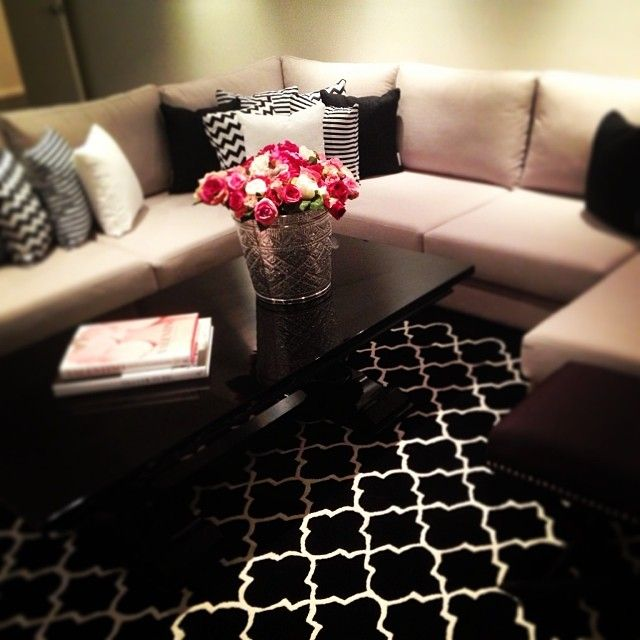 I like the black and white pillows on the beige couch on a dark floor (carpet in this case)