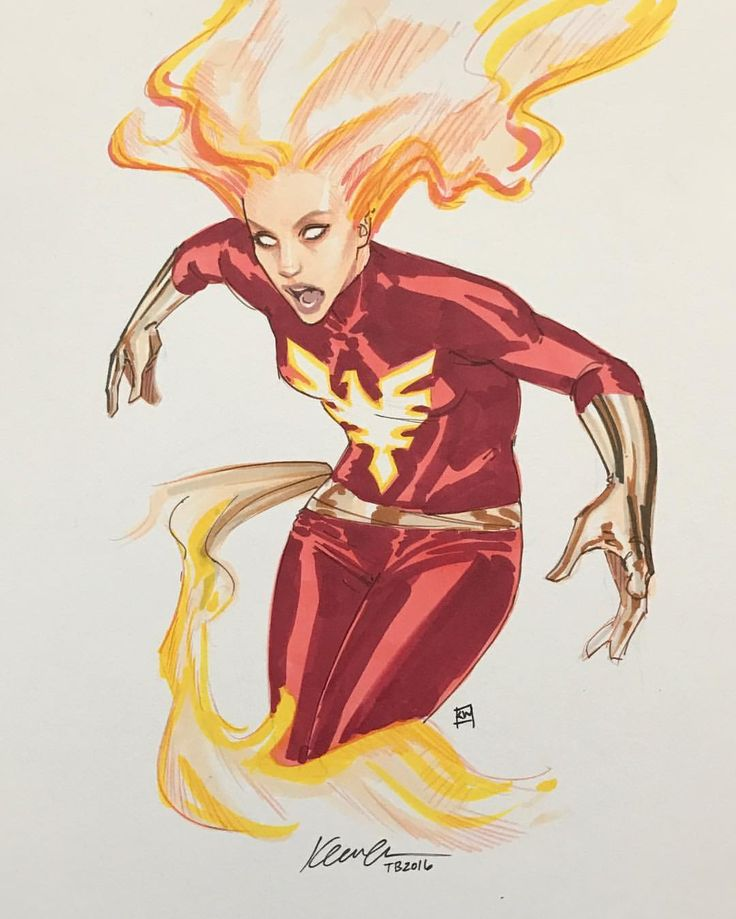 kevin wada illustration: Dark Phoenix sketch #thoughtbubble