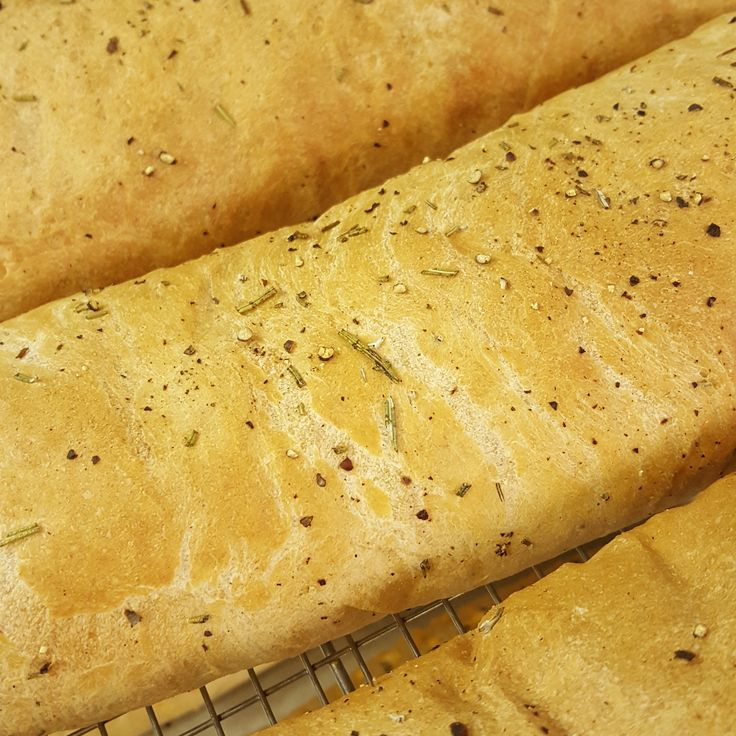 This is our delicious rosemary, olive oil, and fresh cracked pepper bread. Great accompaniment to our charcutiere