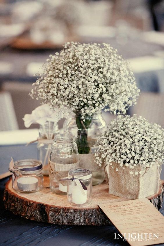 rustic baby's breath wedding centerpiece idea / http://www.himisspuff.com/rustic-babys-breath-wedding-ideas/9/