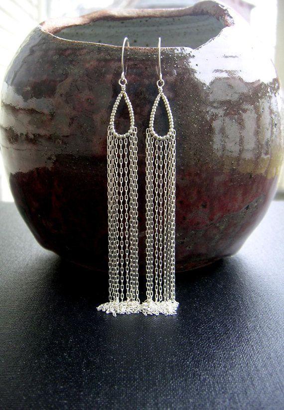 Silver Chain Earring Extra Long Silver Dangle Earring Beaded Teardrop Hoop Shoulder Duster Bridal Earring Statement Earring