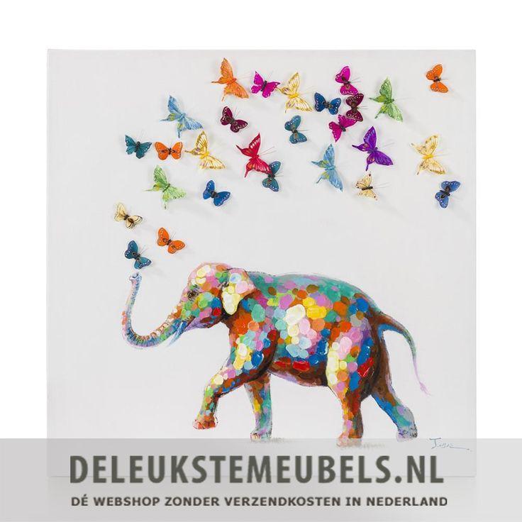 Dit vrolijke 3D schilderij 'An elephant never forgets' van het merk Youniq is helemaal te gek! Een olifant vol met verschillende vrolijke kleuren met 3D vlinders. De olifant is geschilderd met verdikkingen waardoor hoogteverschil voelt. Met dit schilderij fleur je echt jouw woonkamer op! Ook leuk voor op de kinderkamer of slaapkamer! Echt thuiskomen doe je samen met deleukstemeubels.nl!  Wanddecoratie van het merk Youniq online kopen doe je snel en zonder verzendkosten bij…