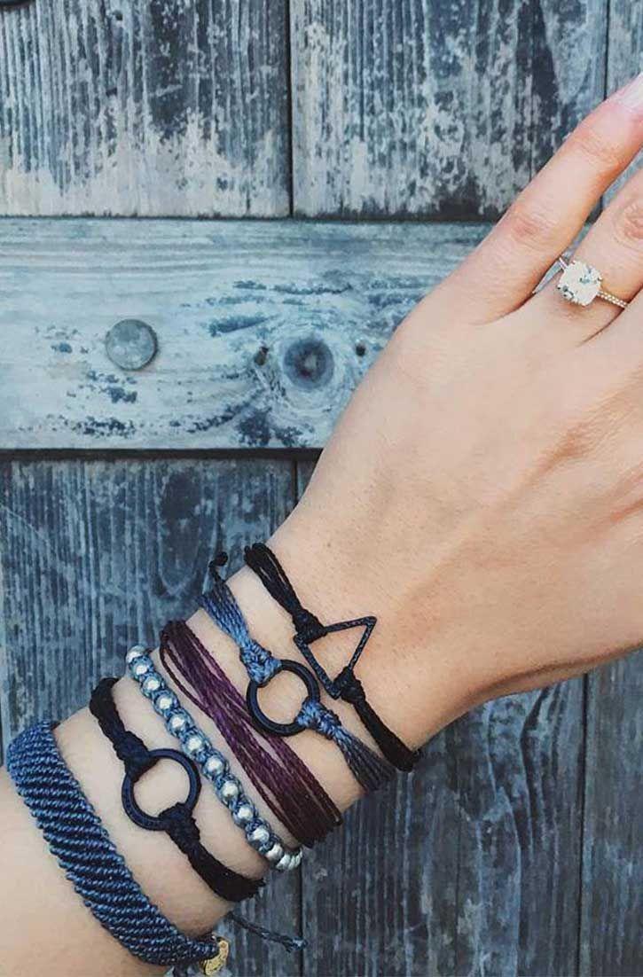 Black Hammered Triangle Charm | Pura Vida Bracelets