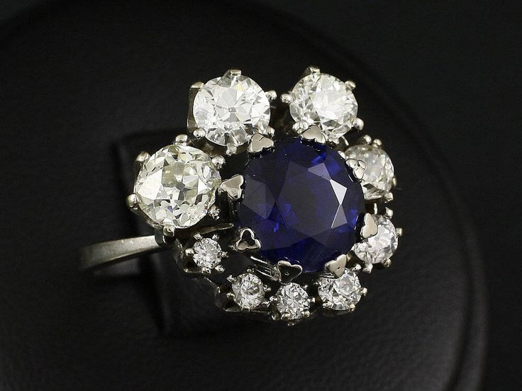 Old ring with Sapphire and Diamonds - expertise DeGEB by ARTaVIP on Etsy https://www.etsy.com/listing/529237767/old-ring-with-sapphire-and-diamonds