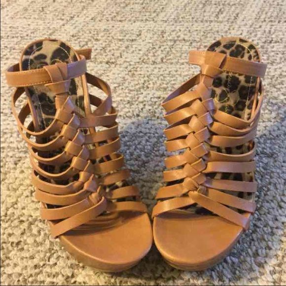 Jessica Simpson Wedges size 7 Size 7 Tan wedges by Jessica Simpson like new worn once Jessica Simpson Shoes Wedges