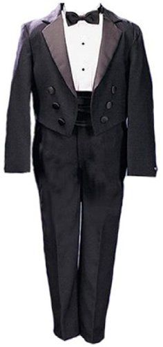 Gino Giovanni New Ring Bearer Boys Tuxedo Tail Suit Tux Set Black From Baby to Teen $44.99