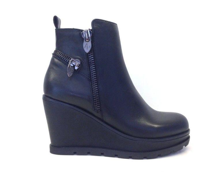 APEPAZZA scarpe donna Tronchetto PAM PSN10 pelle NERO zeppa cerniera  caviglia   Abbigliamento e accessori,
