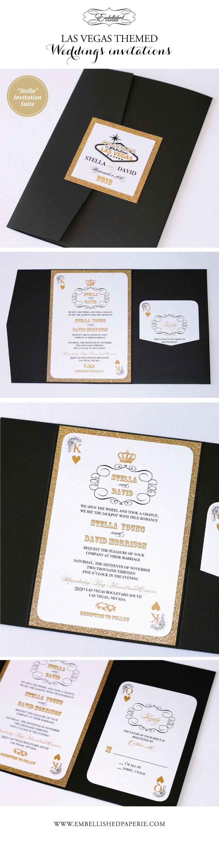 invitation letter for us vissample wedding%0A Las Vegas Wedding Invitations in Black  White and Gold Glitter  Pocket fold  style invitation