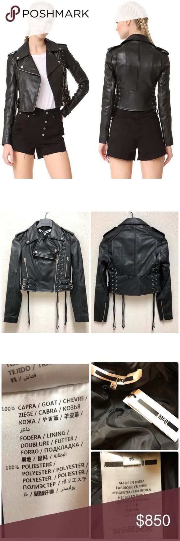 McQ Alexander McQueen Lace Up Leather Jacket US 0 New with tag.  Small security tag mark (shown in last picture).  Size: 0 US/36 IT Retail: $1350 plus tax  ❌No Trade ❌Lowball Offer Will be IGNORED&BLOCKED.  ⚡️Serious Buyer ONLY⚡️NO DRAMA! ⭐️Same/next day shipping via USPS ⚠I video record all sales from packing to shipping so we are both protected ⚠ Alexander McQueen Jackets & Coats