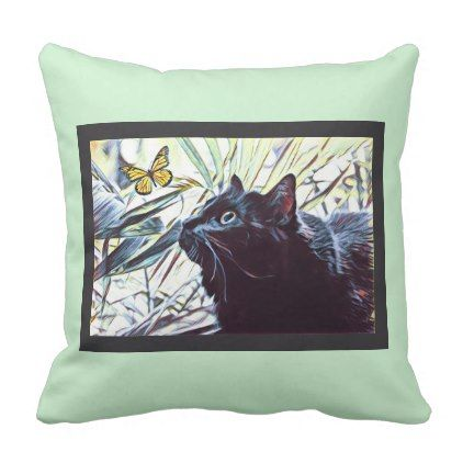 #modern - #Black Cat & Butterfly (on mint background) Throw Pillow