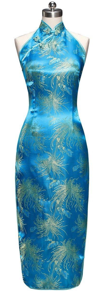 Periwing Lake Blue Satin Chrysanthemum Print Backless Chinese Dress Cheongsam - iDreamMart.com