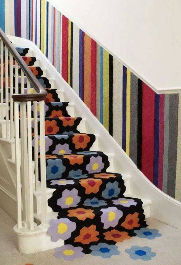 Best Decoration Floral Carpet Runner For Stairs With Colorfull Striped Wainscoting Flower Motive 400 x 300