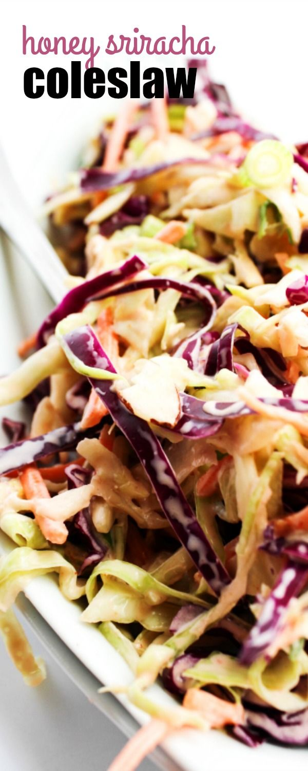 This HONEY SRIRACHA COLESLAW is made with 2 kinds of cabbage and a creamy honey dressing with a kick.