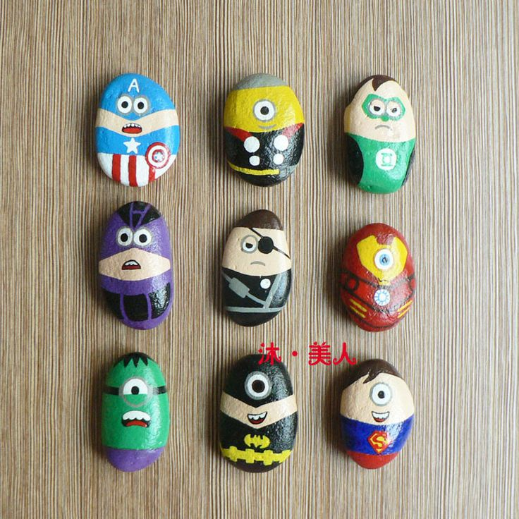 Marvel Comics cartoon hand painted stone