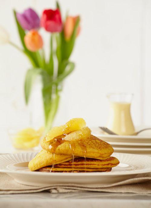Pancakes de ahuyama y avena Chef: Juanita Umaña Ensaye estos pancakes con ahuyama para conquistar el paladar de sus hijos. Una receta que puede elaborar para el desayuno o para unas ricas onc