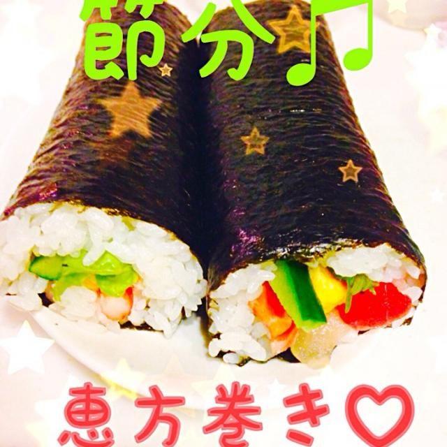 太すぎて一本食べたらお腹パンパン… - 33件のもぐもぐ - 我が家の恵方巻き♡海鮮&カニサラダ by himapu