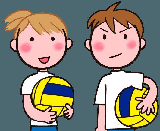ドッジボール 代表二人 イラスト素材