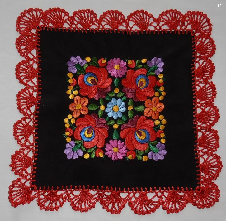 Hand embroidered tablecloth Hungarian Matyo more colors silk Yarn crochet neu