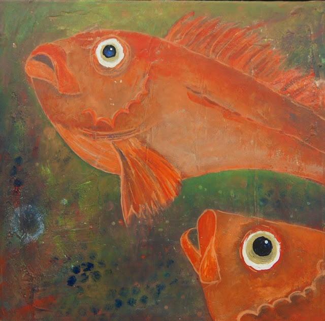 Doo it - just doo it: Malerier - rødfisk fra havets dyb (redfisk I, acrylics, crayons, tusch, 30 x 30 cm)