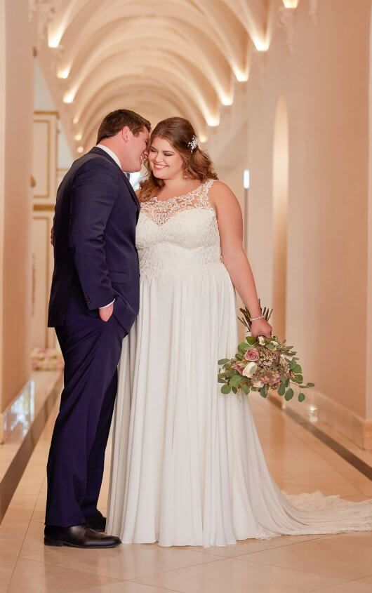 c3d0756627 Perfect for a beach wedding, this chiffon plus size wedding dress from  designer Stella York is simply sweet. Lace and crepe chiffon create an  easy-to-wear ...